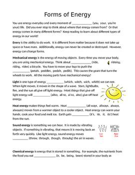 FSA Editing Task: Forms of Energy