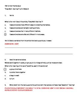"FSA Format Practice Quiz ""Gray Wolf! Red Fox!"" Unit 4 Week 3 Reading Wonders"