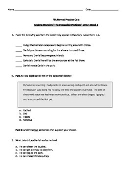 FSA Format Quizzes- Unit 4 Week 2 BUNDLE Reading Wonders