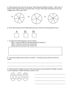 FSA Assessment Quiz, Go Math, Fractions Part 2