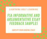 FSA Informative & Argumentative Essay Feedback Samples (FL Standards Assessment)