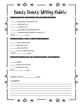 Kid Friendly Writing Rubric