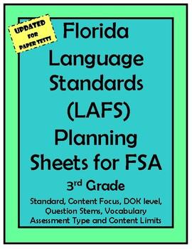 3rd Grade FSA LAFS Planning Sheet with Question Stems