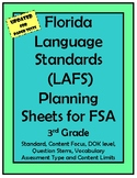 3rd Grade FSA LAFS Planning Sheet with Question Stems