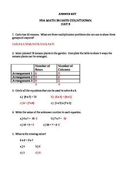 Third Grade FSA Assessment Math 35 Day Countdown Days 1-5