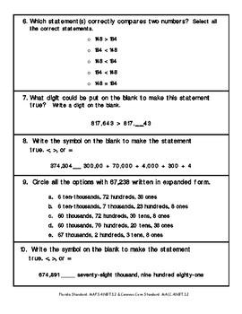 4th Grade FSA Math Assessment – MAFS.4.NBT.1.2