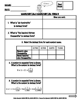 FSA Math Assessment – MAFS.5.NBT.1.3a & MAFS.5.NBT.1.3b {Form B}