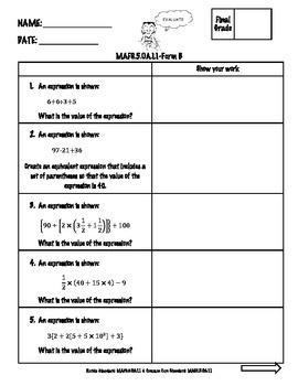 5th Grade Math FSA Assessment-Operations & Algebraic Thinking-OA Bundle{FORM B}