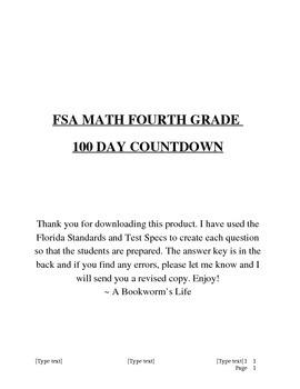 FSA Math Countdown Days 1-20 (Fourth Grade)