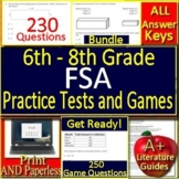 FSA Math Test Prep Grades 6 - 8 Practice Tests and Games Bundle! Spiral Review