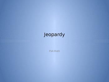 FSA Math Jeopardy