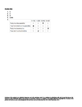 FSA Grade 5 Math Mini-Benchmarks- Number and Operations in Base Ten