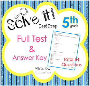 FSA Math Test Prep 5th Grade FULL Test + Answer Key by ...
