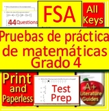4th Grade FSA Math in Spanish: Pruebas de práctica de matemáticas Grado 4