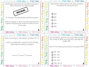 FSA Math Operations & Algebaric Thinking and Number & Base Ten Task Cards