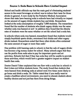 FSA Opinion Writing Prompt: Should Schools Ban Soda?