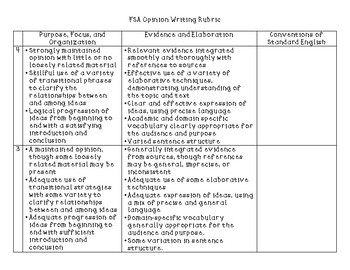 FSA  Opinion Writing Rubric