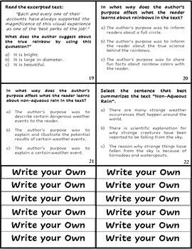 FSA/PARCC Multiple Choice and Multi-Select Passage and Task Cards