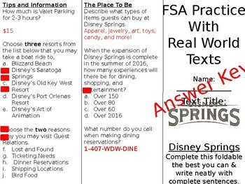 FSA/PARCC Real World Text Practice - Disney Springs (Editable)