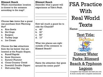 FSA/PARCC Real World Text Practice - Disney Water Parks EDITABLE