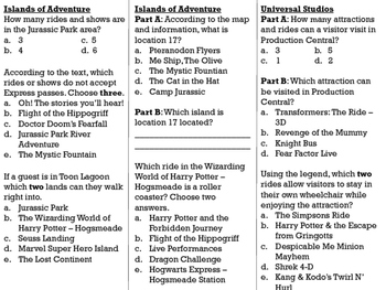 FSA/PARCC Real World Text Practice - Universal Studios and Islands of Adventure