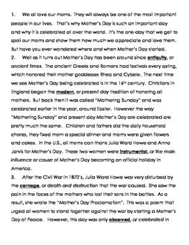FSA PREP - FSA Reading - 5th and 4th grade - Mother's Day - History