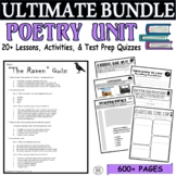 Common Core Poetry 18 Lesson Test Prep MEGA BUNDLE (Quizze