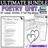 Common Core Poetry 18 Lesson Test Prep MEGA BUNDLE (Quizzes & Activities)
