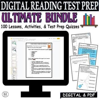 Common Core Reading Test Prep 70 Days of Lessons BUNDLE FSA PARCC SBAC