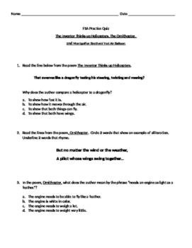 FSA Practice Quiz- Unit 2 Week 5 McGraw Hill Poetry