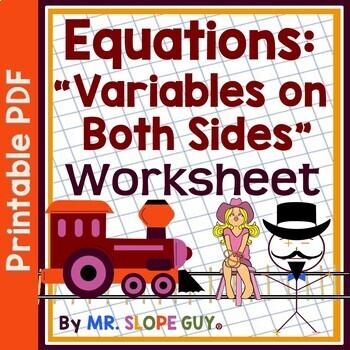 Solving Linear Equations Variables Two Sides .PDF Worksheet Assessment 8.EE.C.7