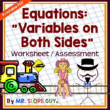 Solving Linear Equations Variables Two Sides .PDF Workshee