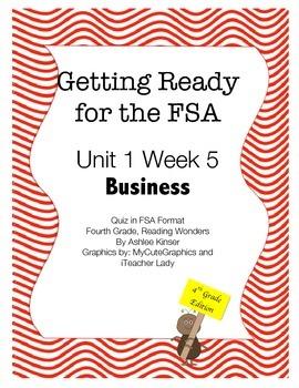 FSA Prep - Fourth Grade - Unit 1 Week 5 - Kids in Business