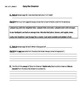 FSA Quiz - Mcgraw-Hill Wonders Unit1, Week 3 Grade 3 - Gary the Dreamer