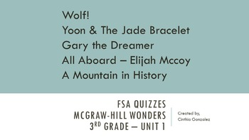 FSA Quizzes - Mcgraw-Hill Wonders 3rd Grade - Unit 1 Bundle