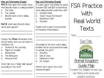 FSA Real World Text Practice - Animal Kingdom Guide Map EDITABLE