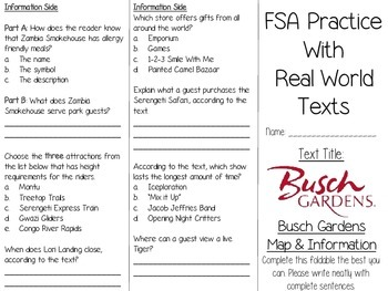FSA Real World Text Practice - Busch Gardens Park Map (Tampa) EDITABLE
