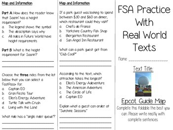 FSA Real World Text Practice - Epcot Guide Map EDITABLE