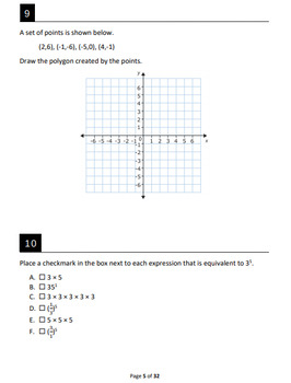 FSA Simulation for 6th Grade Math: 64 questions with ...