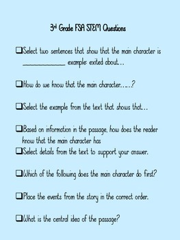 FSA Stem Questions for 3rd Grade ELA
