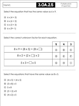 FSA Style Math Questions-3.OA Set 1 by Blooming Bright ...