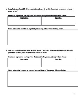 FSA Style Multi-Step Equation Response Style Word Problems