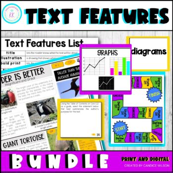 TEXT FEATURES TASK CARDS (NONFICTION) : GALAPAGOS ISLANDS