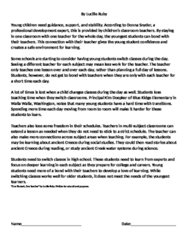 FSA Writing 4th/5th Grade Model Essay with 3 Paired Passages - Switching Classes