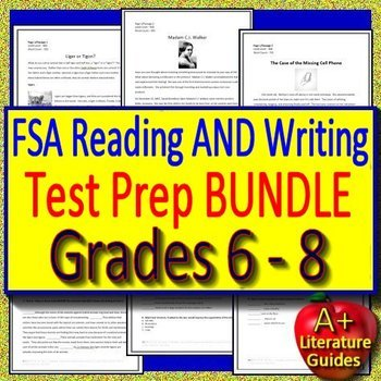Writing FSA AND Reading FSA Test Prep Bundle for Grades 6, 7 and 8