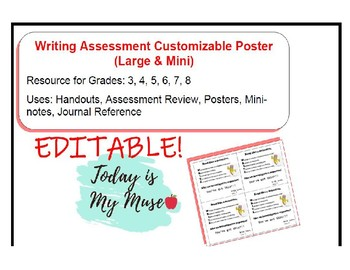 FSA Writing Assessment Inspirational/Motivational Poster and Note *Editable