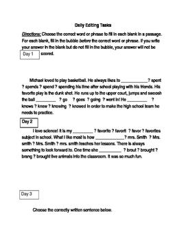 FSA ELA Daily Grammar Editing Tasks