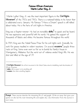 FSA Writing: Civil Rights Most Influential Person Essay