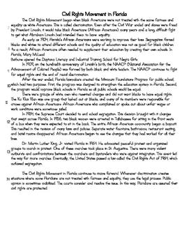 FSA Writing: Civil Rights in Florida