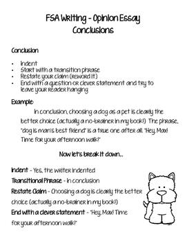"FSA Writing...""Dog-gone Good"" Conclusions (Opinion Essays)"